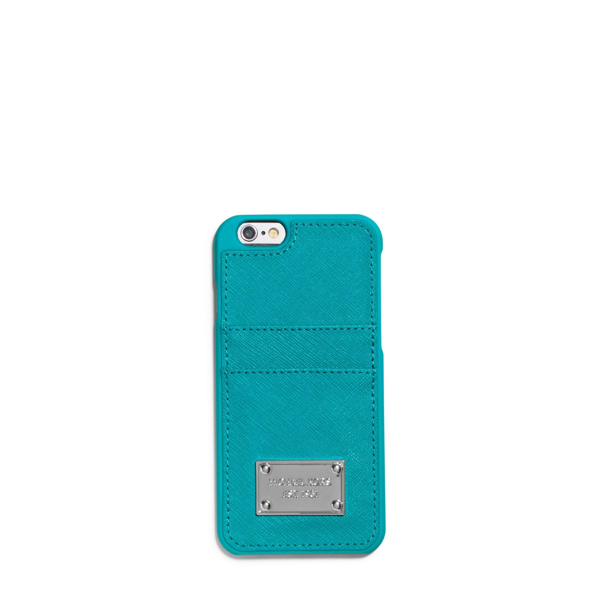 outlet store 3c771 1f521 Michael Kors Blue Saffiano Leather Pocket Smartphone Case
