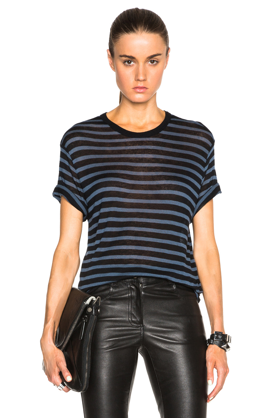 lyst t by alexander wang stripe rayon linen tee in black. Black Bedroom Furniture Sets. Home Design Ideas