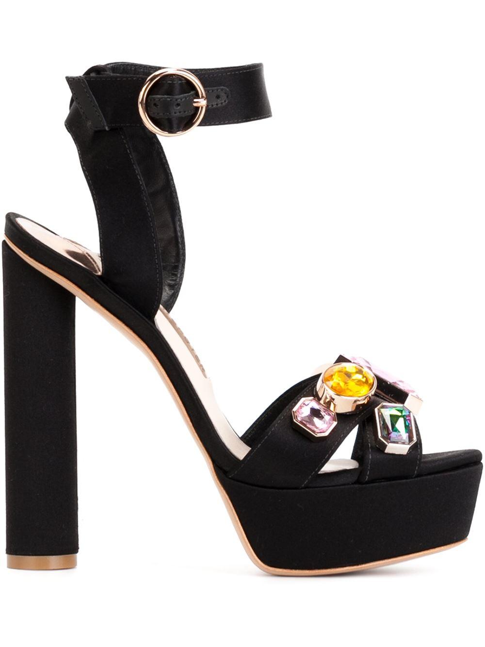 6339149e10a Sophia Webster Amanda Gem Sandals in Black - Lyst
