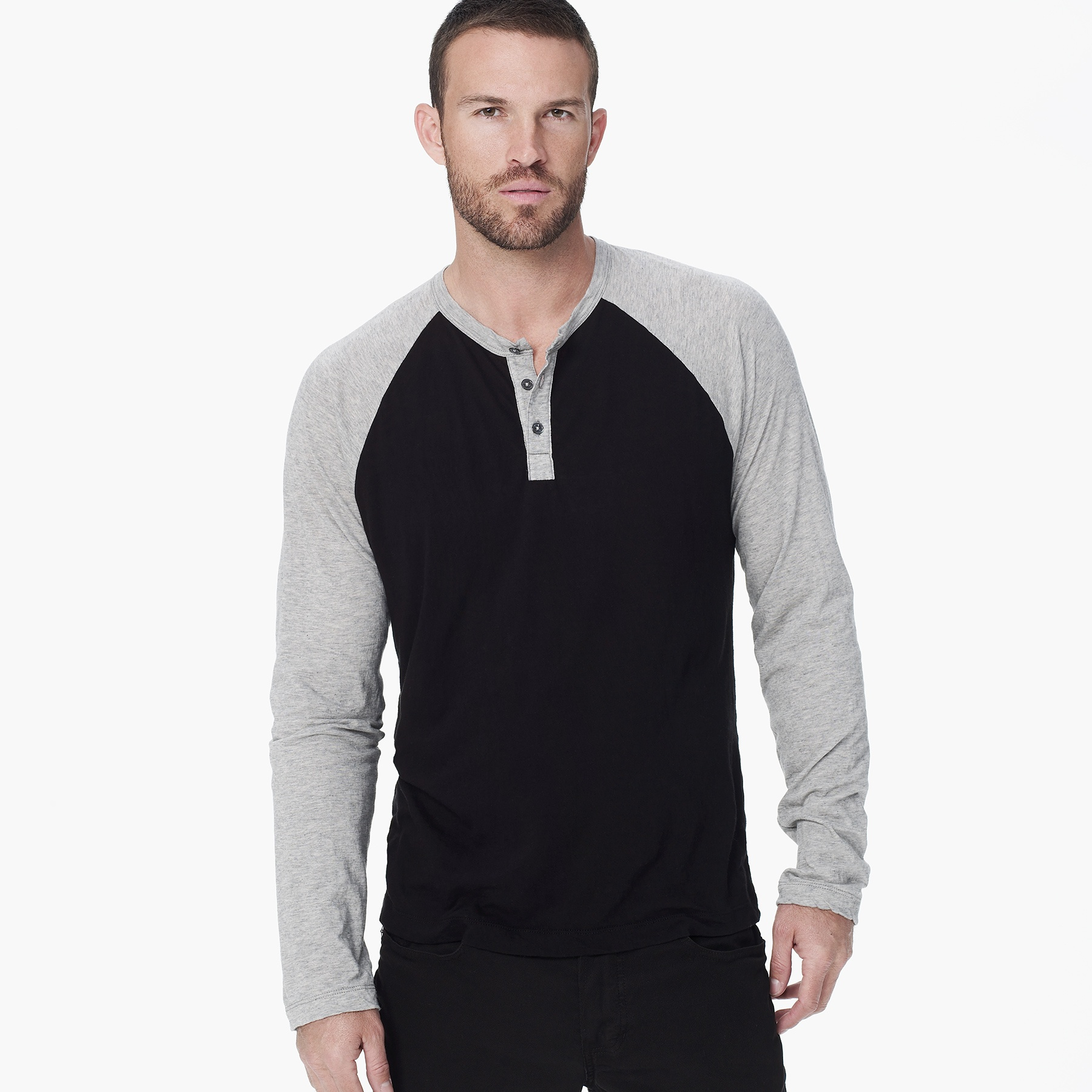 James perse cotton cashmere raglan henley in black for men for James perse henley shirt