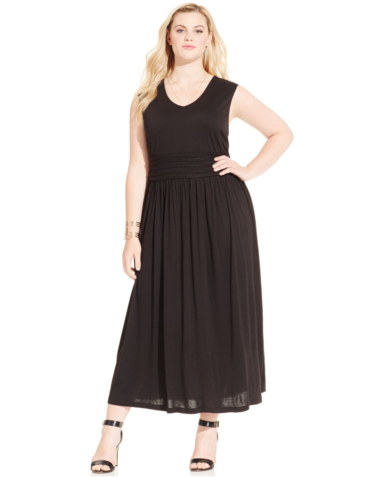 Women\'s Black Plus Size Sleeveless Empire-waist Maxi Dress