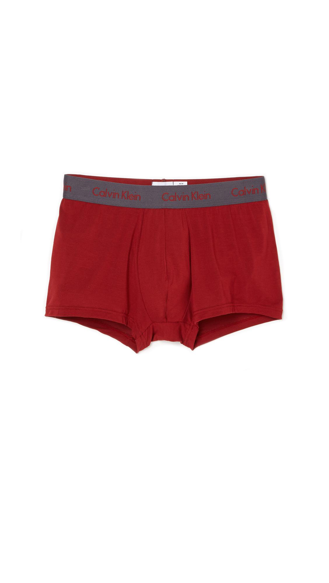 calvin klein body modal trunks in red for men vermillion. Black Bedroom Furniture Sets. Home Design Ideas