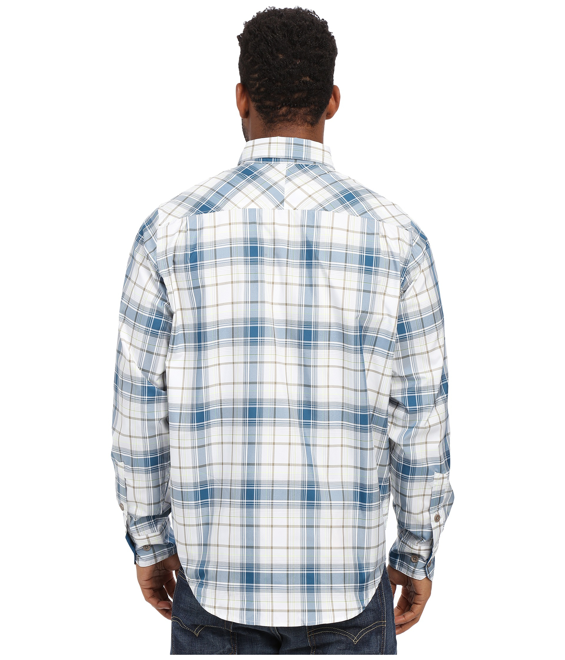 Under armour ua chesapeake 2 long sleeve plaid in blue for for Teal under armour shirt