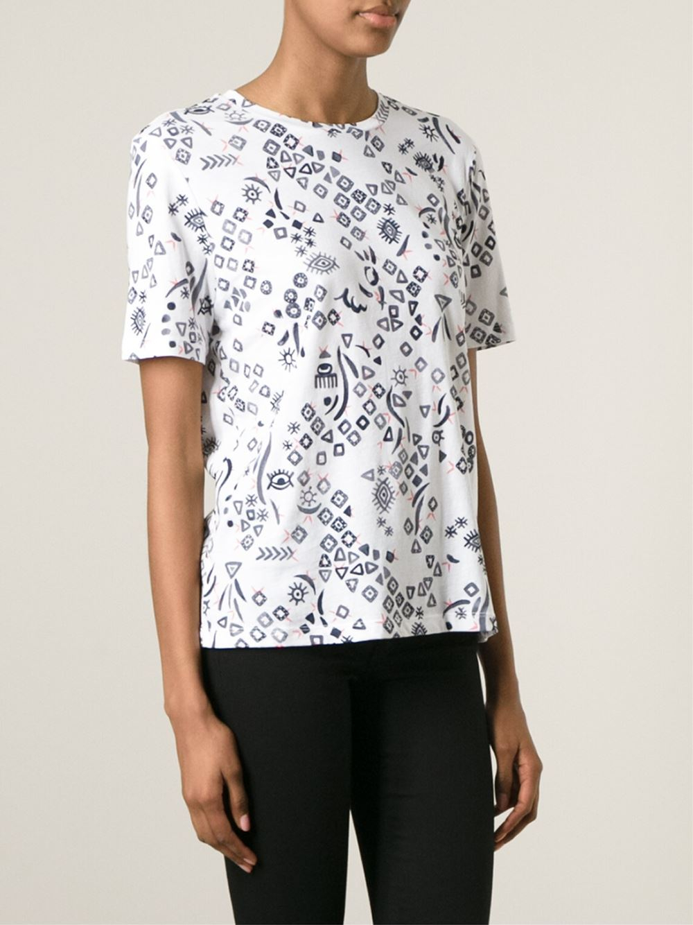 Tory burch abstract print t shirt in white lyst for Tory burch t shirt