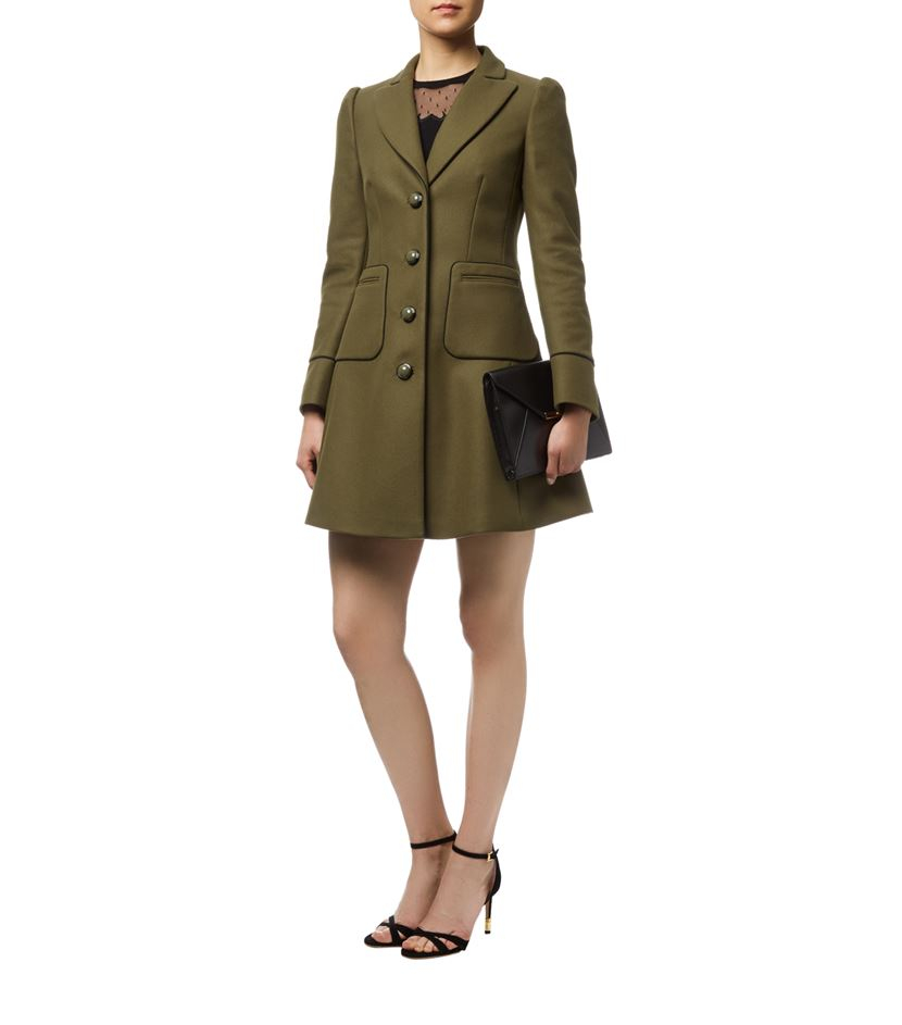 Red valentino Fitted Military Coat in Green | Lyst