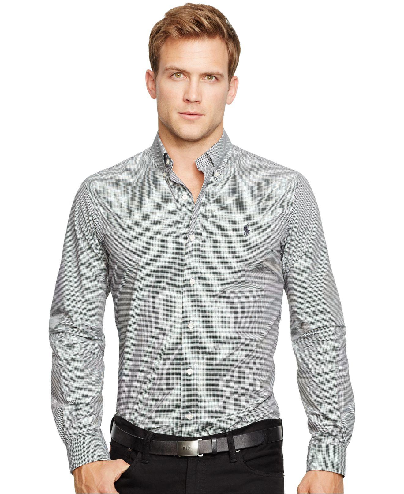 polo ralph lauren slim fit poplin shirt in black for men black white. Black Bedroom Furniture Sets. Home Design Ideas