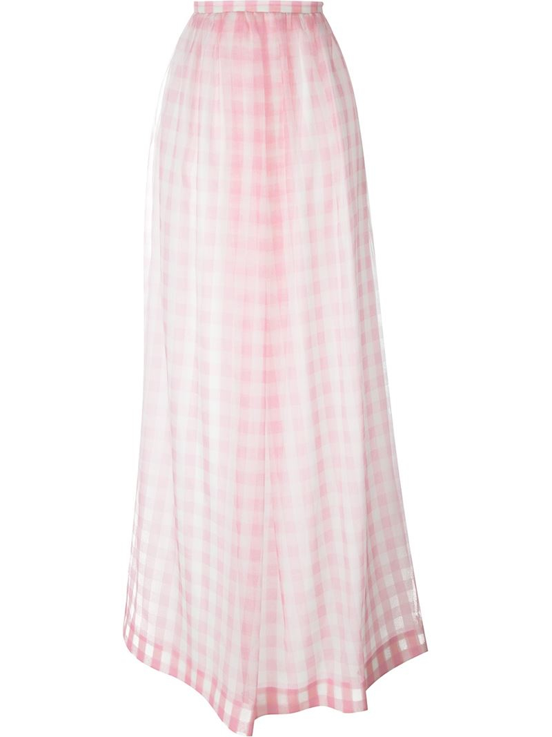 rochas checked maxi skirt in pink lyst
