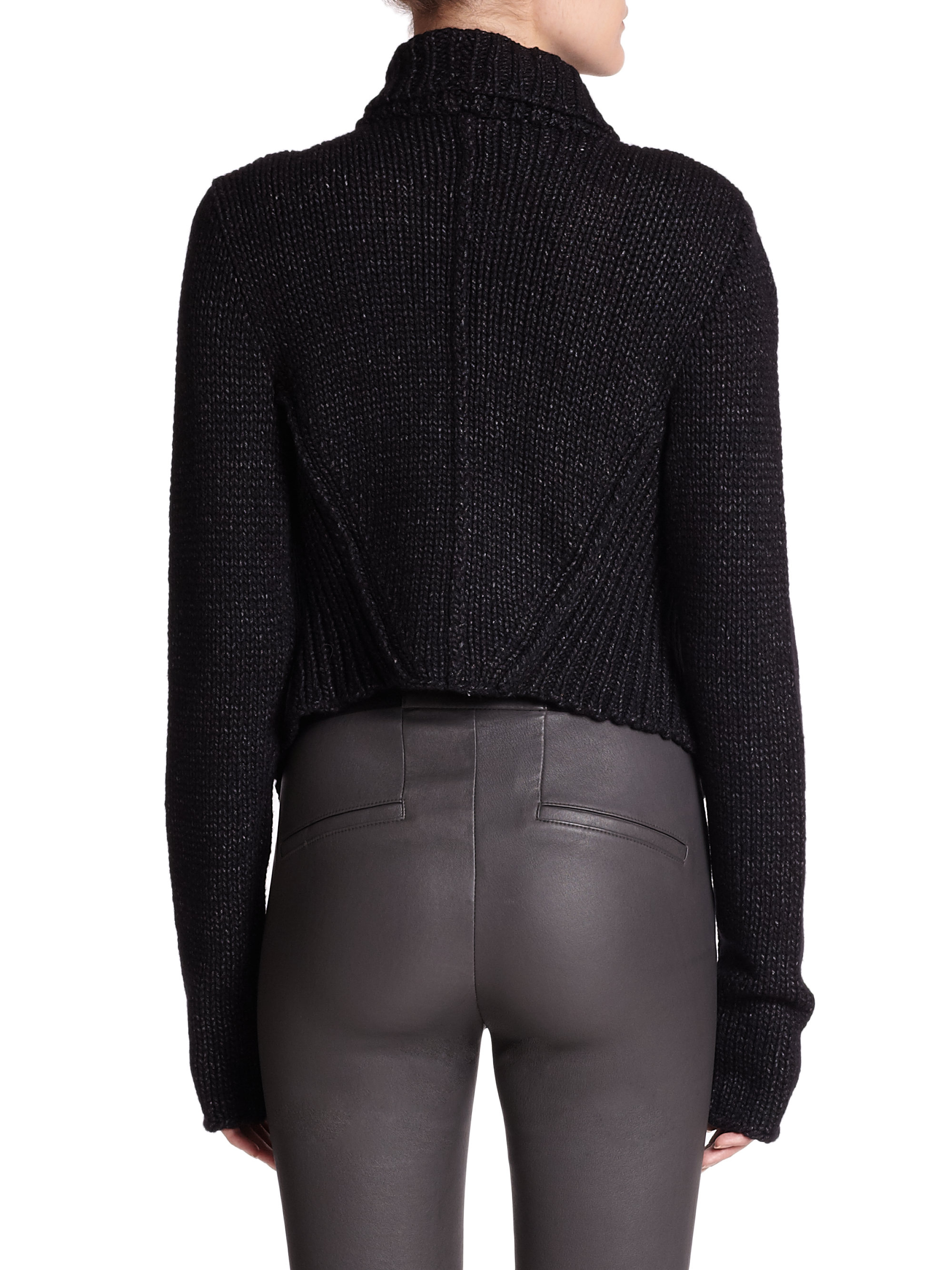 Helmut lang Ocacity Draped Chunky-Knit Cardigan in Black | Lyst
