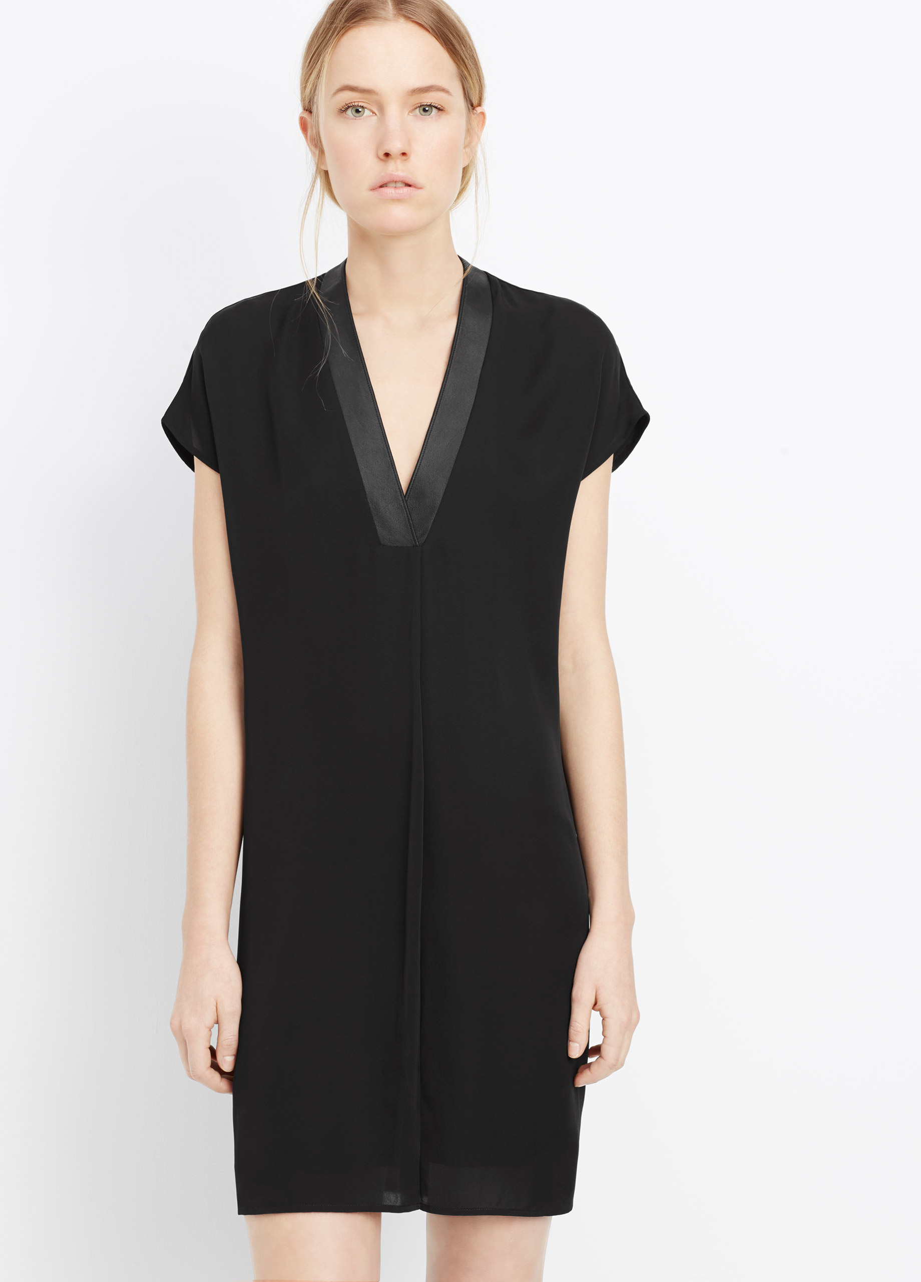 f10b99b52a Vince Silk Popover Dress With Leather Trim in Black