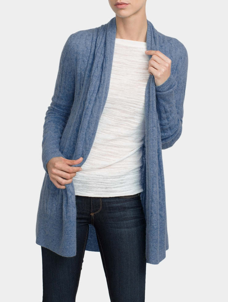 Lyst - White + Warren Cashmere Cable Cardigan in Blue