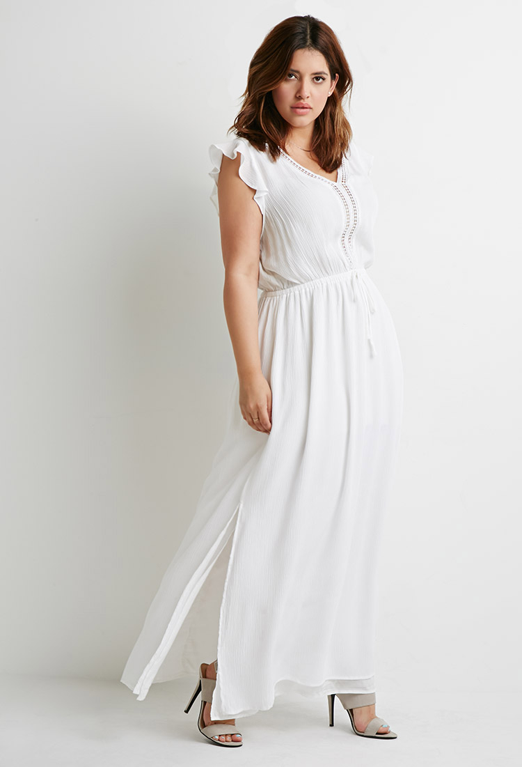 forever 21 plus size crochettrimmed maxi dress in ivory