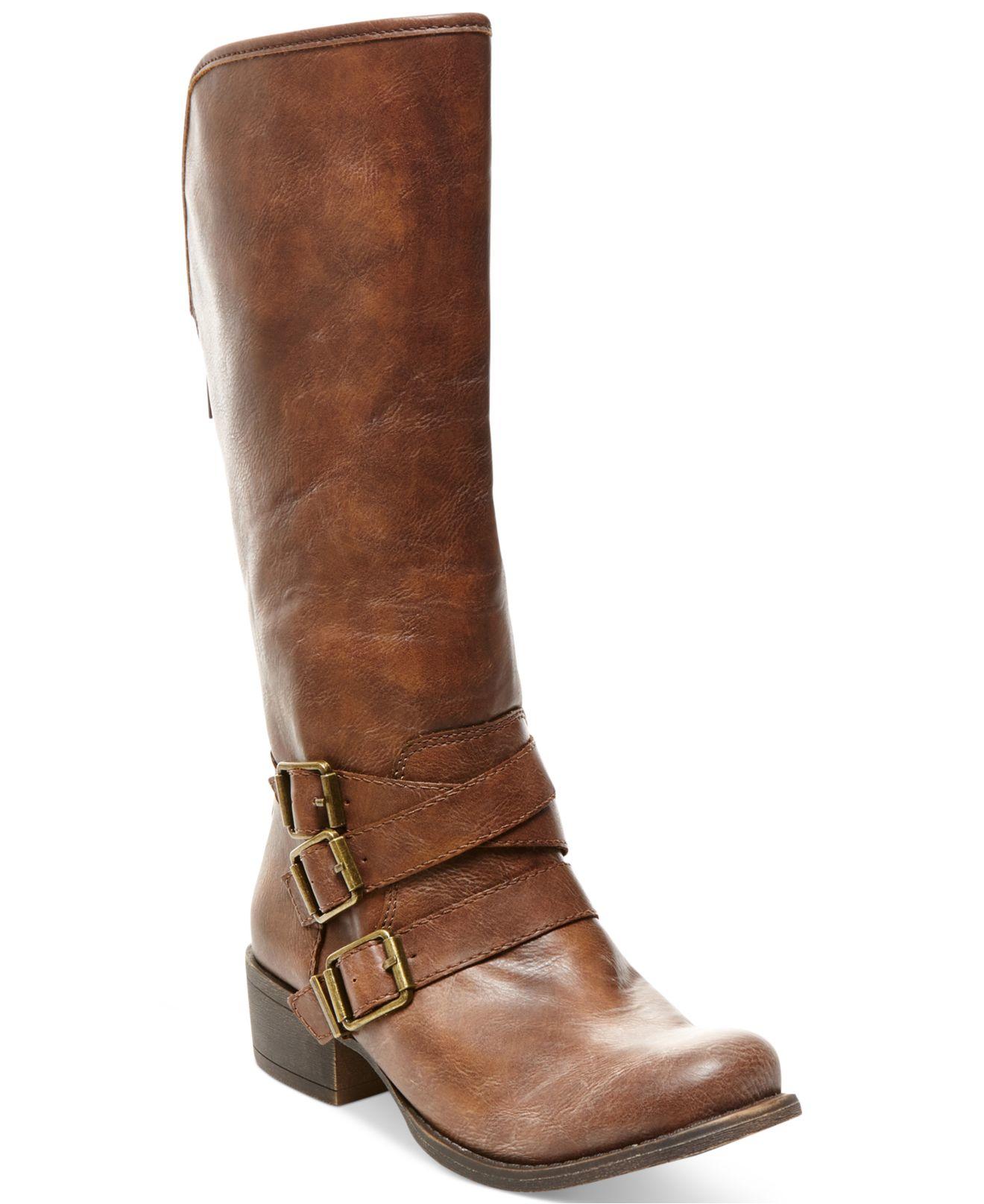 madden dakotaaa mid shaft boots in brown cognac lyst
