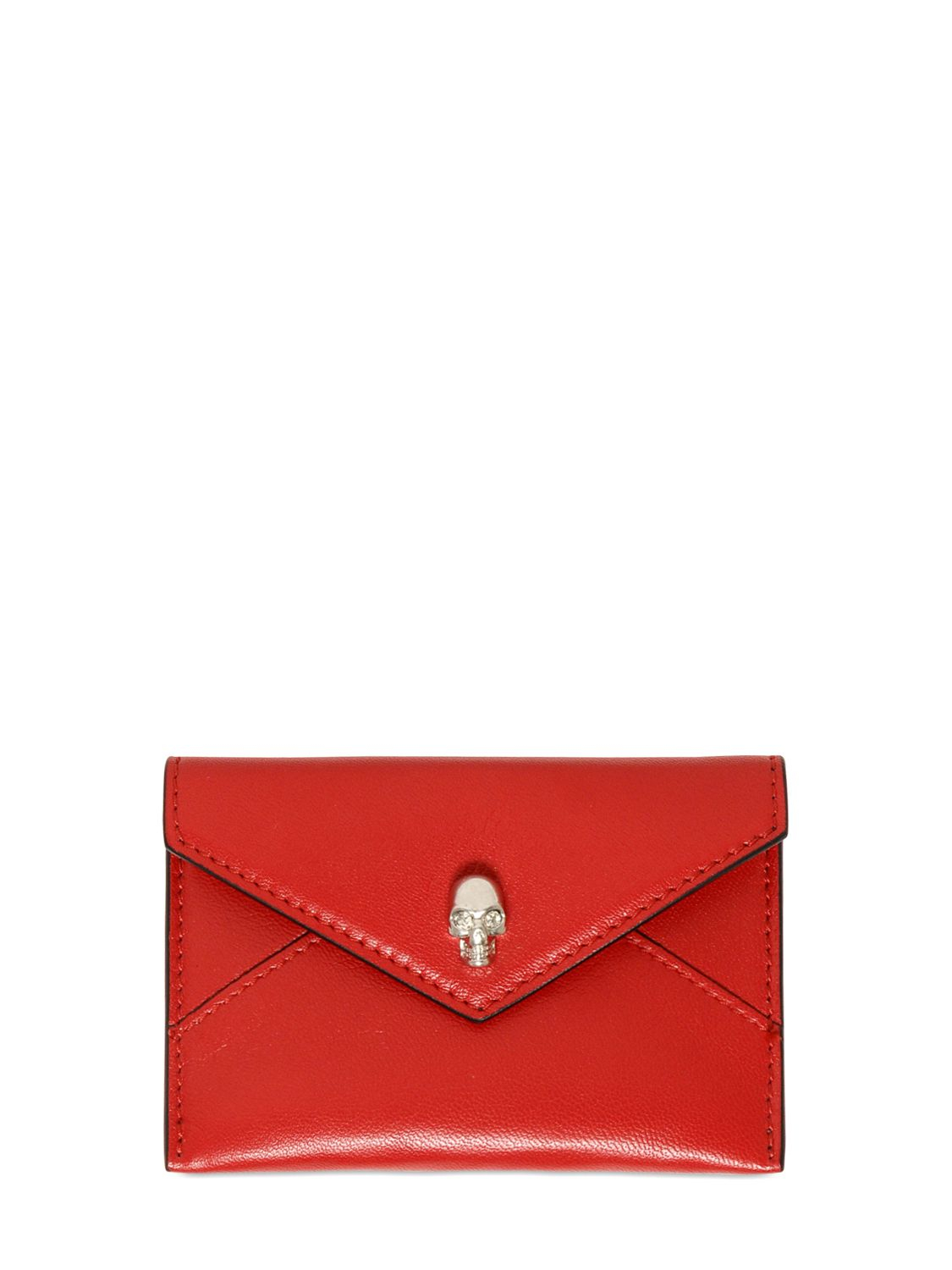 Lyst - Alexander Mcqueen Skull Leather Business Card Holder in Red