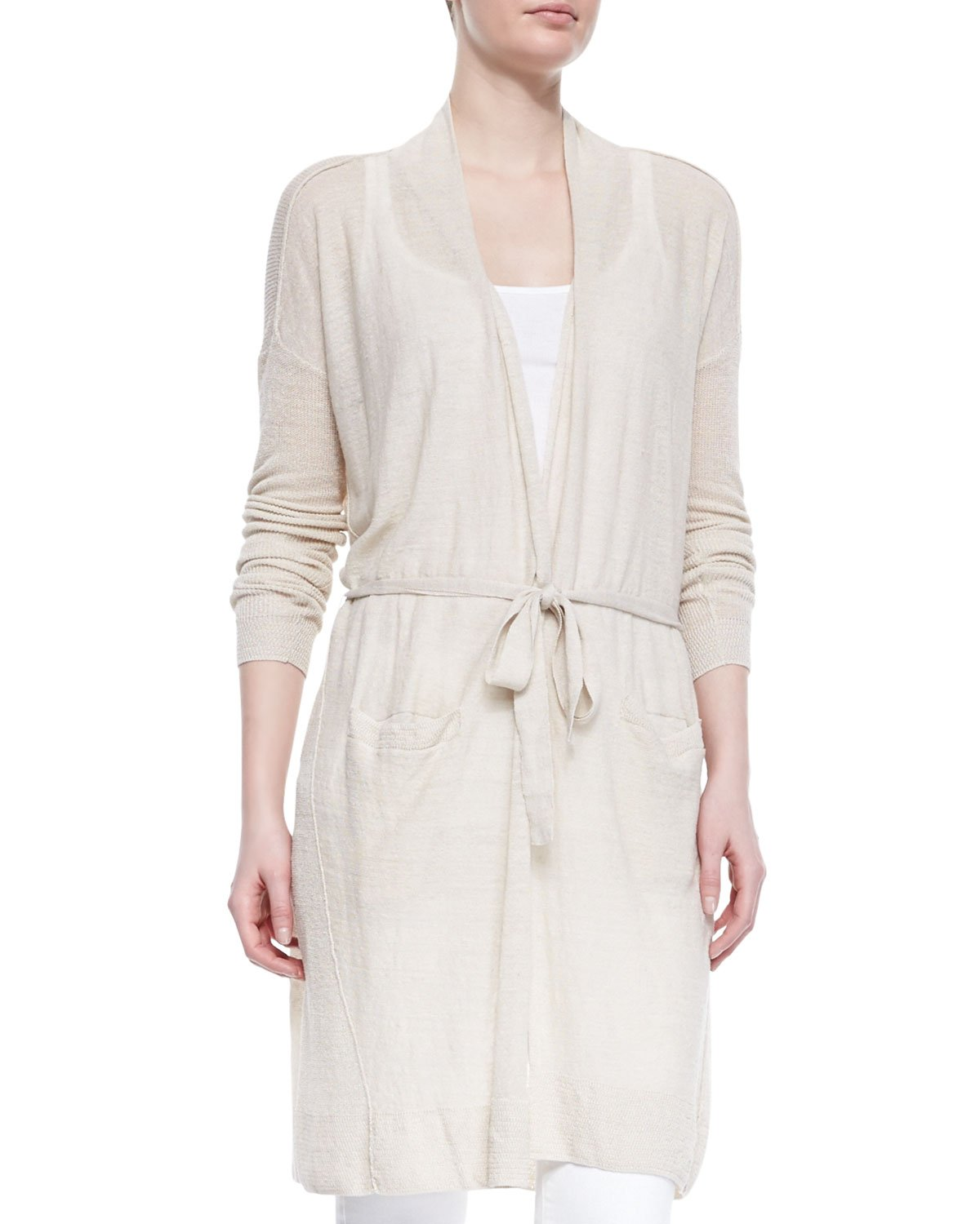 Vince Lightweight Knit Long Belted Cardigan in Gray | Lyst