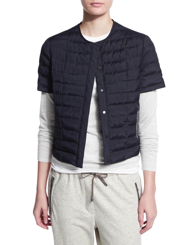 Brunello cucinelli Quilted Silk Short-sleeve Jacket in Blue   Lyst