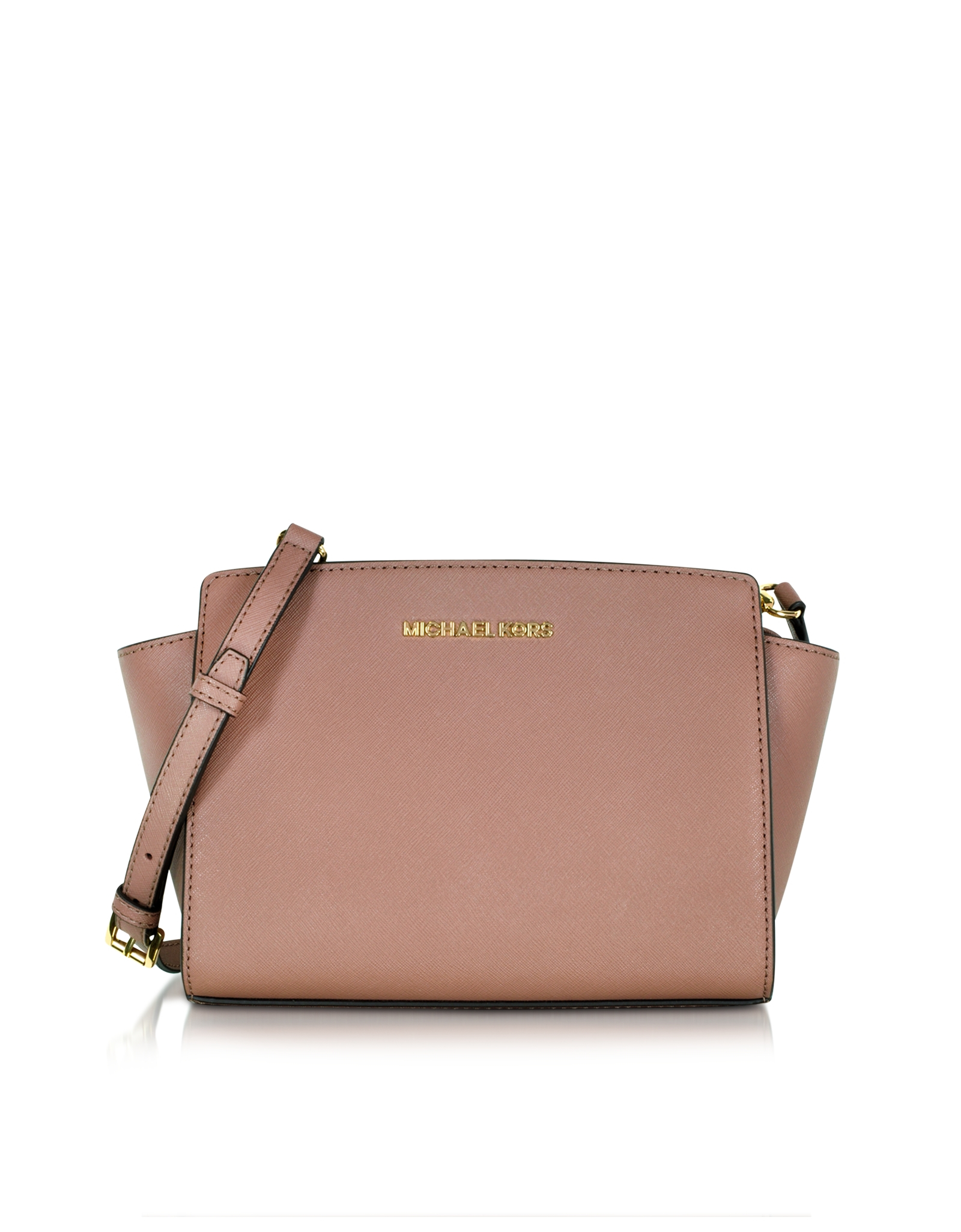 4bdc4e398521 Michael Kors Selma Saffiano Leather Medium Messenger Bag in Pink - Lyst