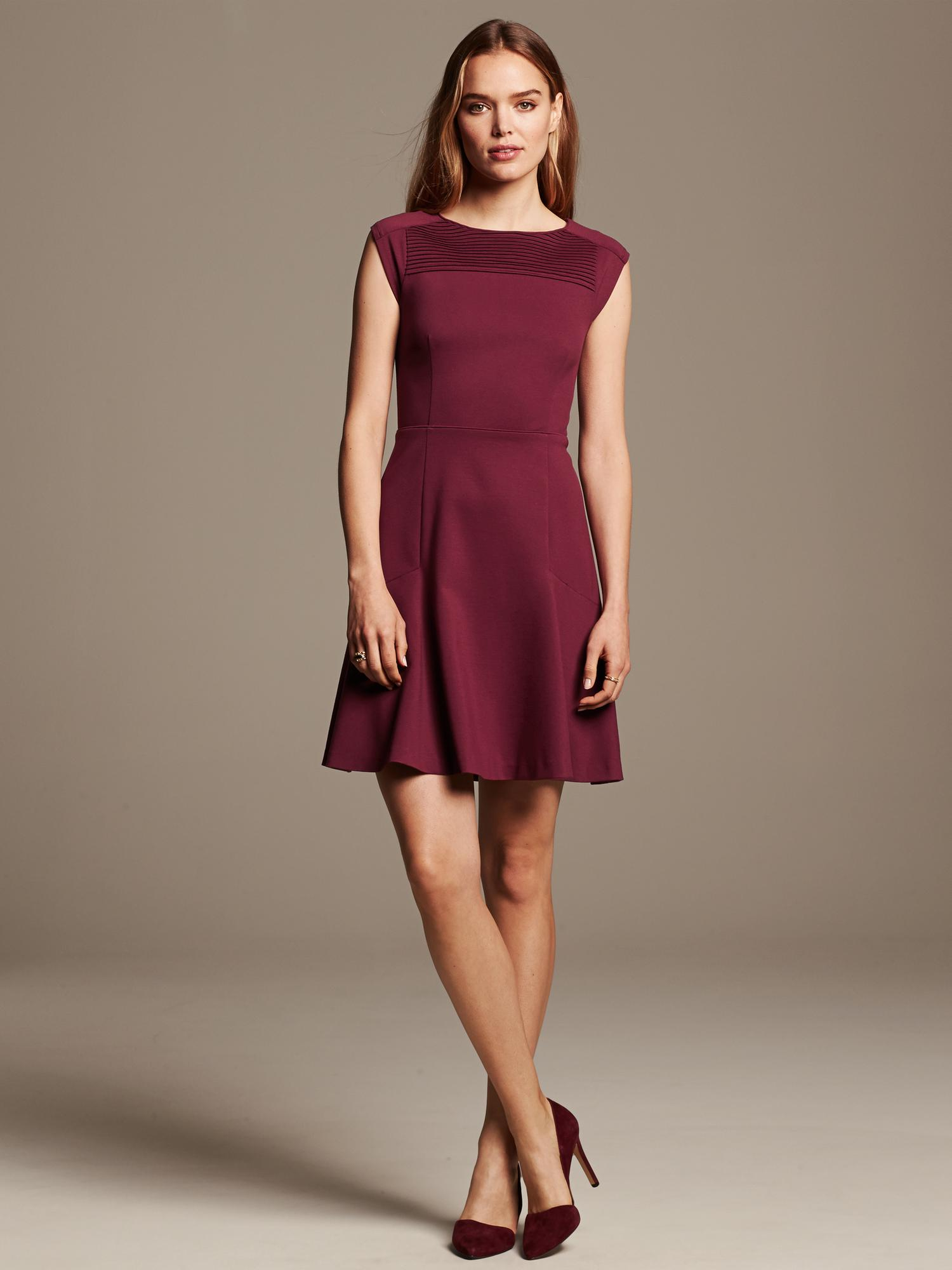 Banana Republic Pintuck Ponte Fit And Flare Dress In