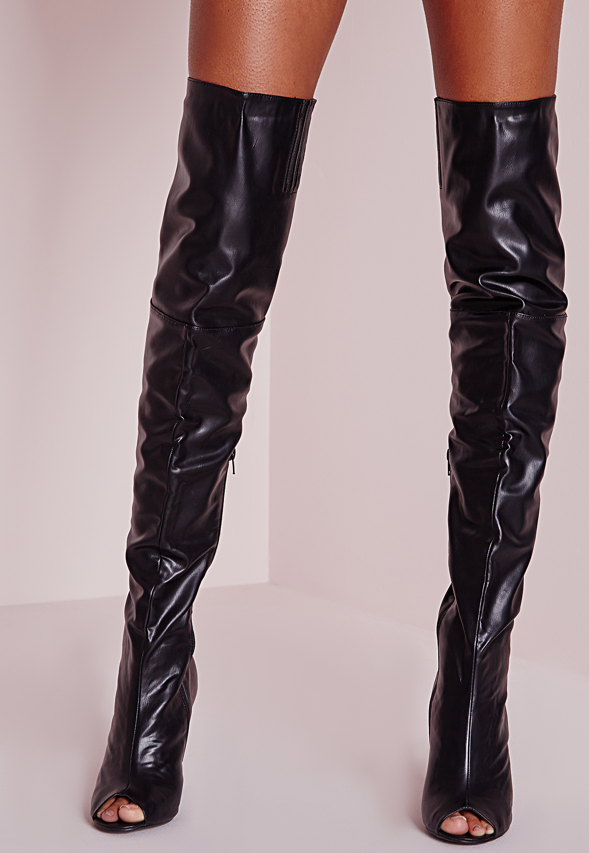 Missguided Peace + Love Over The Knee Faux Leather Peep Toe Boots Black