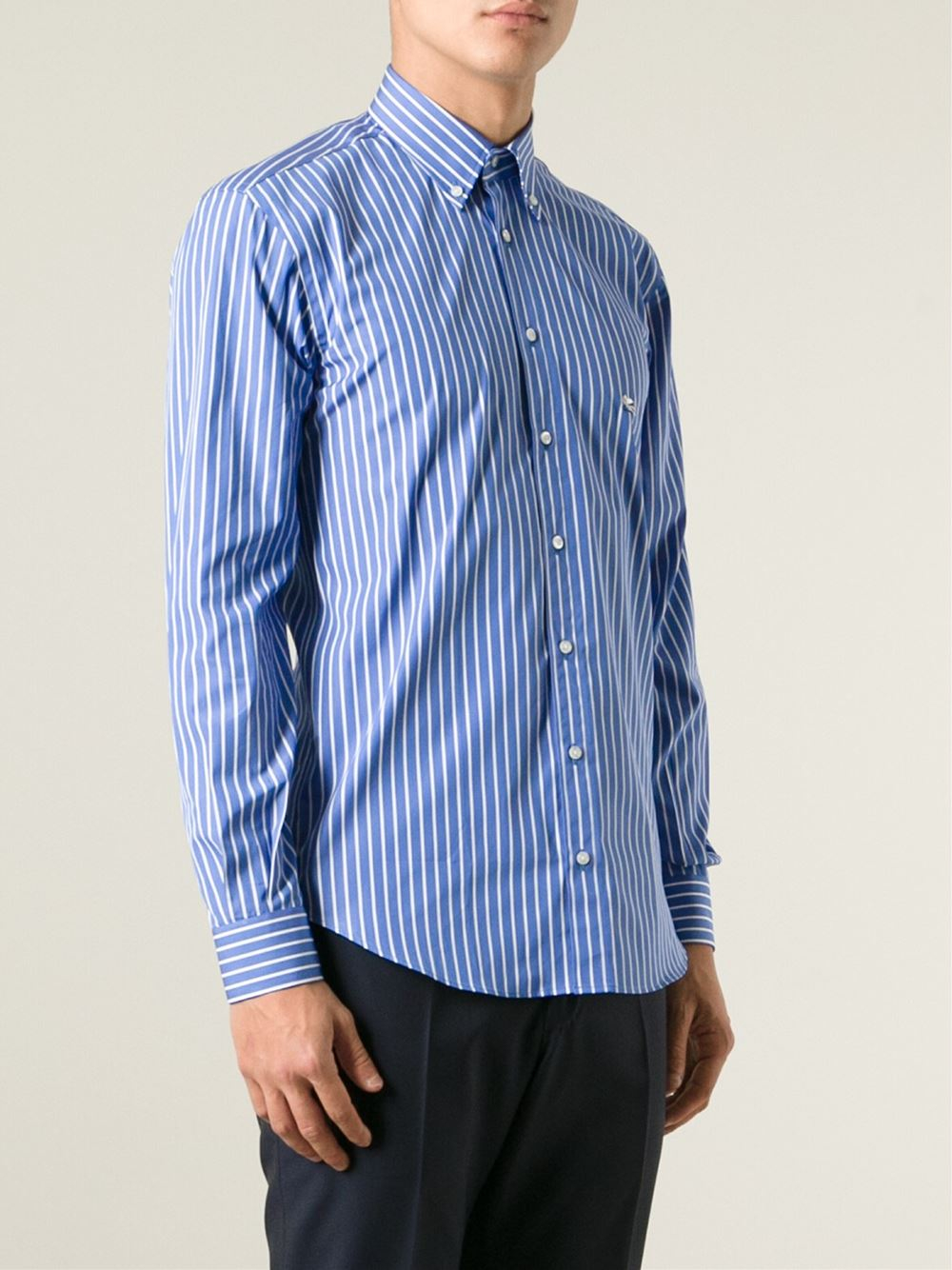 Etro Striped Button Down Shirt In Blue For Men Lyst