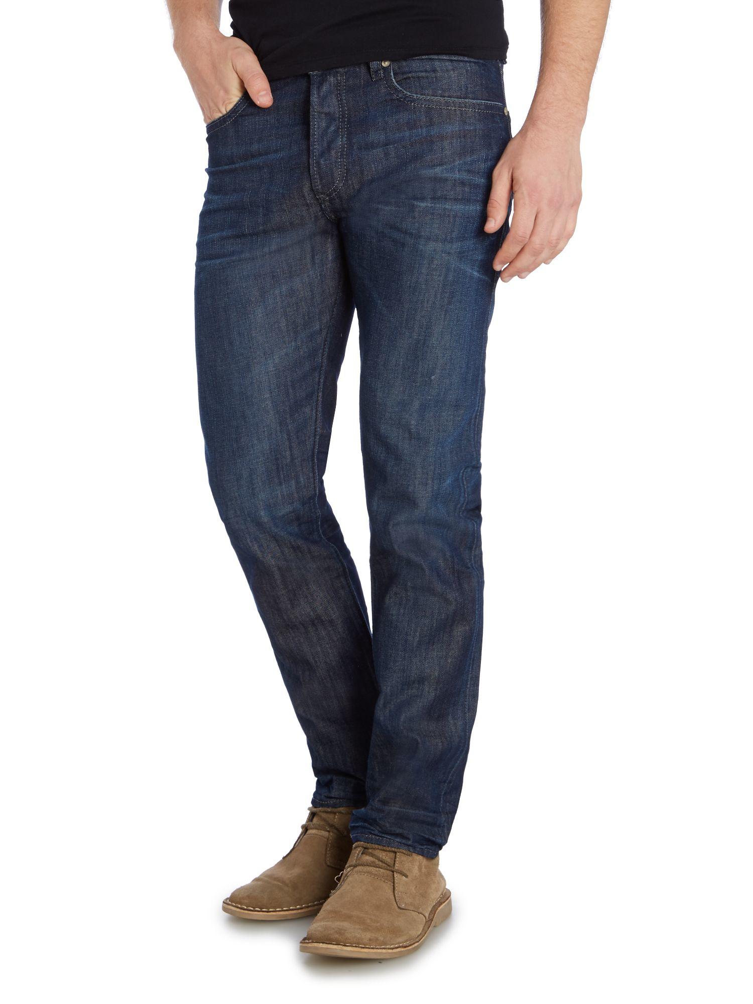 diesel buster 842n tapered fit jeans in blue for men. Black Bedroom Furniture Sets. Home Design Ideas
