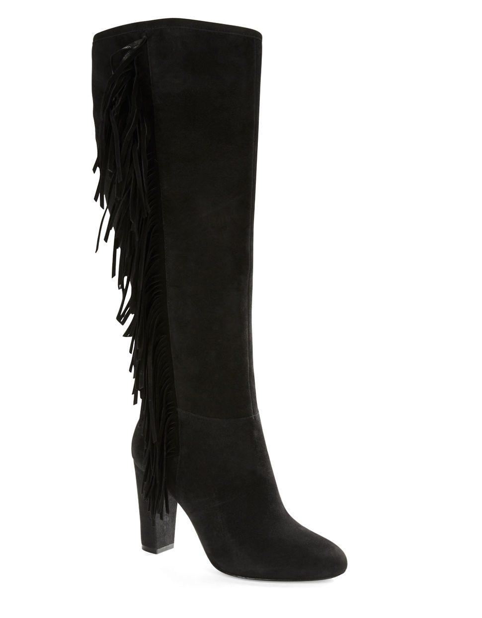 by ralph vanida suede fringe boots in black