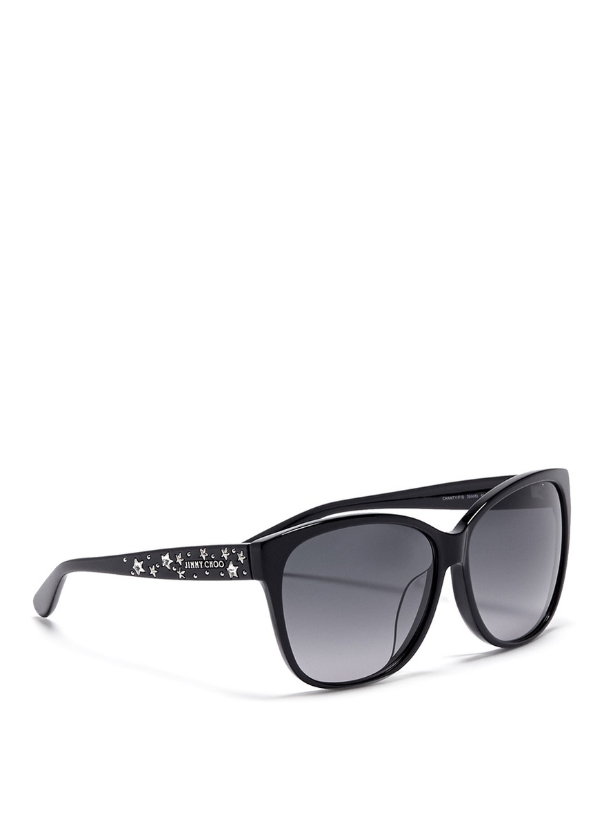 3de2ac49199f Jimmy Choo Chanty Star Stud Plastic Sunglasses in Black - Lyst