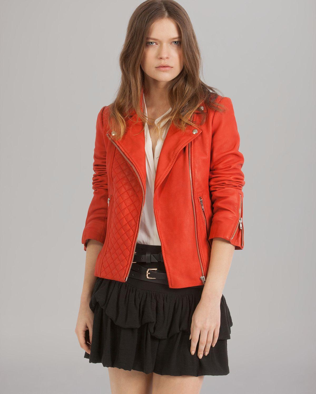 Maje Jacket Dobbie Leather in Red | Lyst