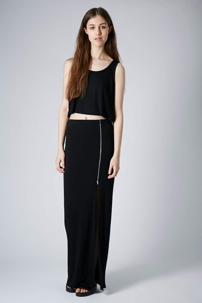 topshop side zip maxi skirt in black lyst