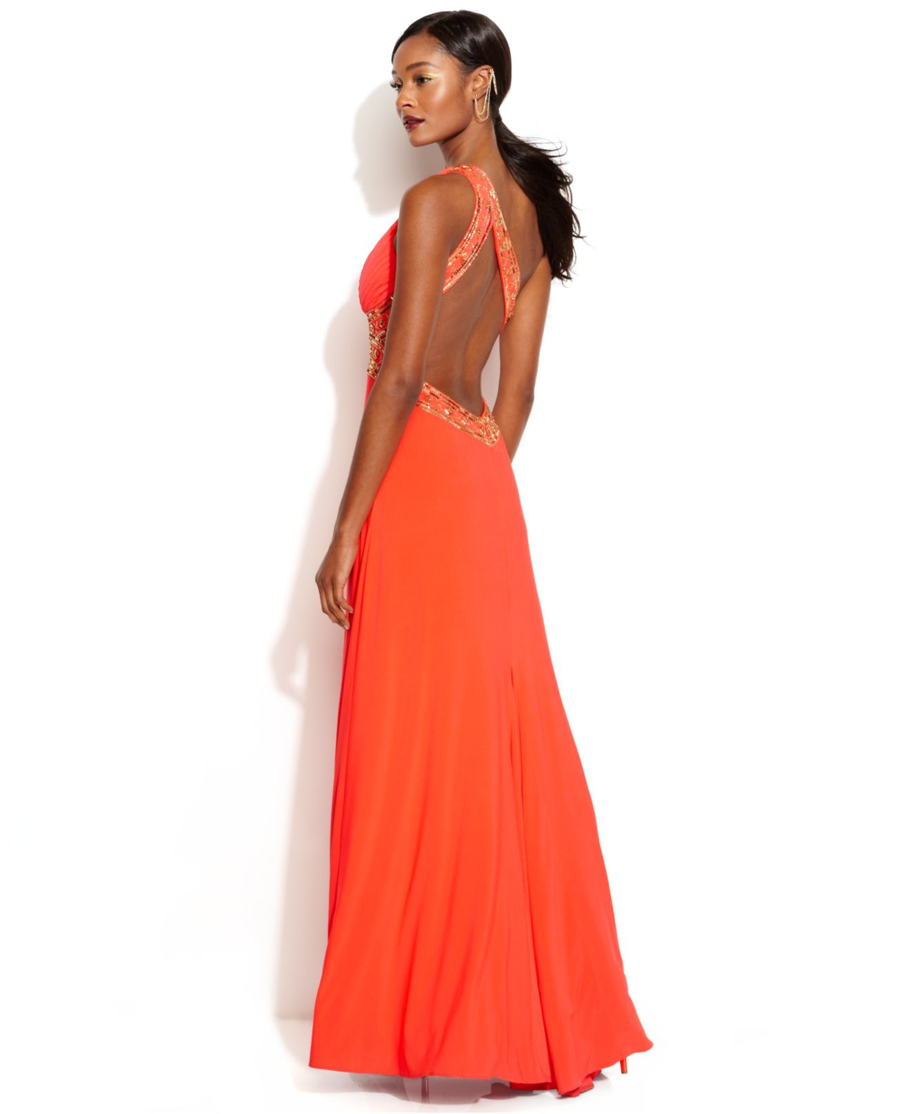 Betsy Amp Adam One Shoulder Sequined Gown In Orange Lyst