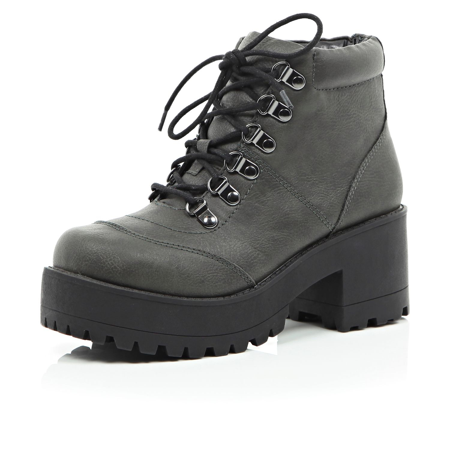 River Island Grey Cleated Sole Chunky Hiker Boots in Grey