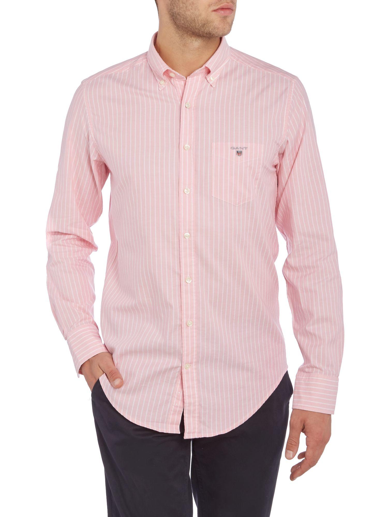 GANT Cotton Breton Stripe Long Sleeve Shirt in Pink for Men
