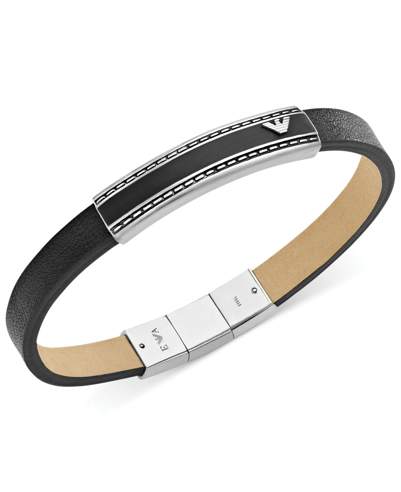 Emporio Armani Men S Stainless Steel And Black Leather
