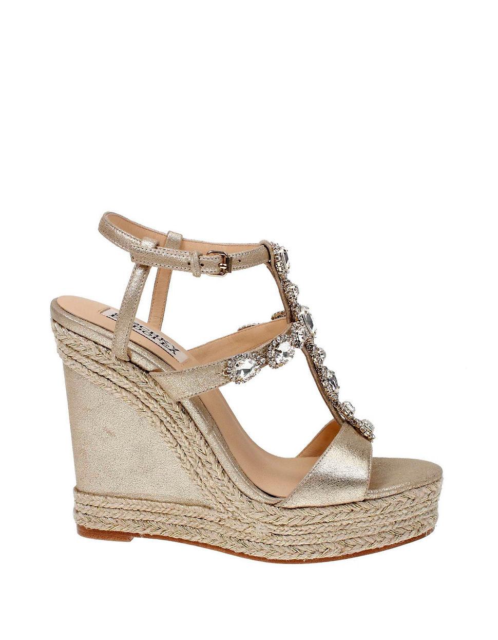 badgley mischka coco metallic leather wedge sandals in