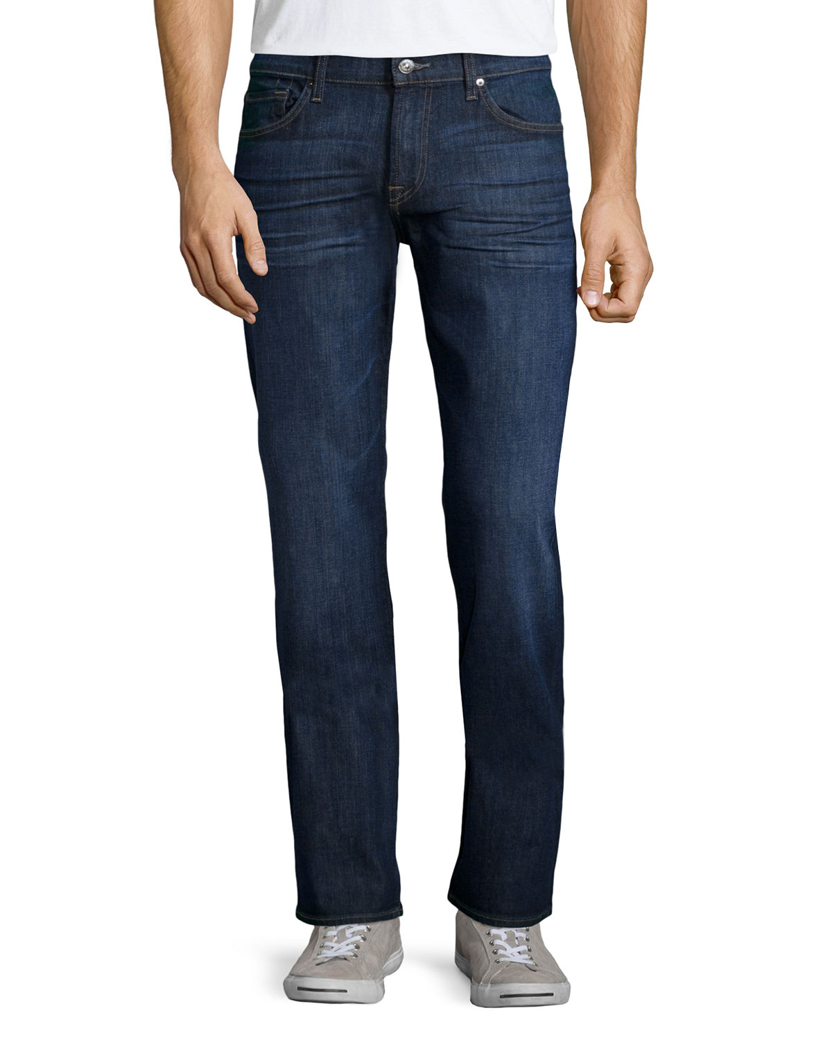 lyst 7 for all mankind standard classic straight leg jeans in blue for men. Black Bedroom Furniture Sets. Home Design Ideas