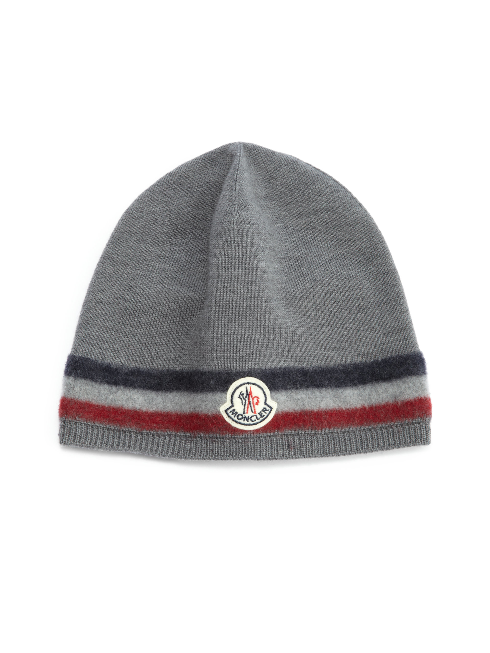 47fc0e3bc Moncler Gray Striped Wool Hat for men