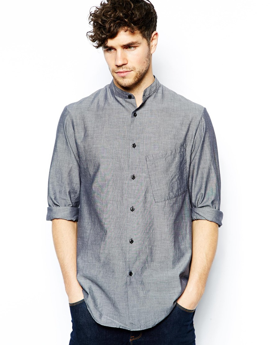 Stand Collar Shirts Designs : Lyst nudie jeans shirt osman stand collar organic