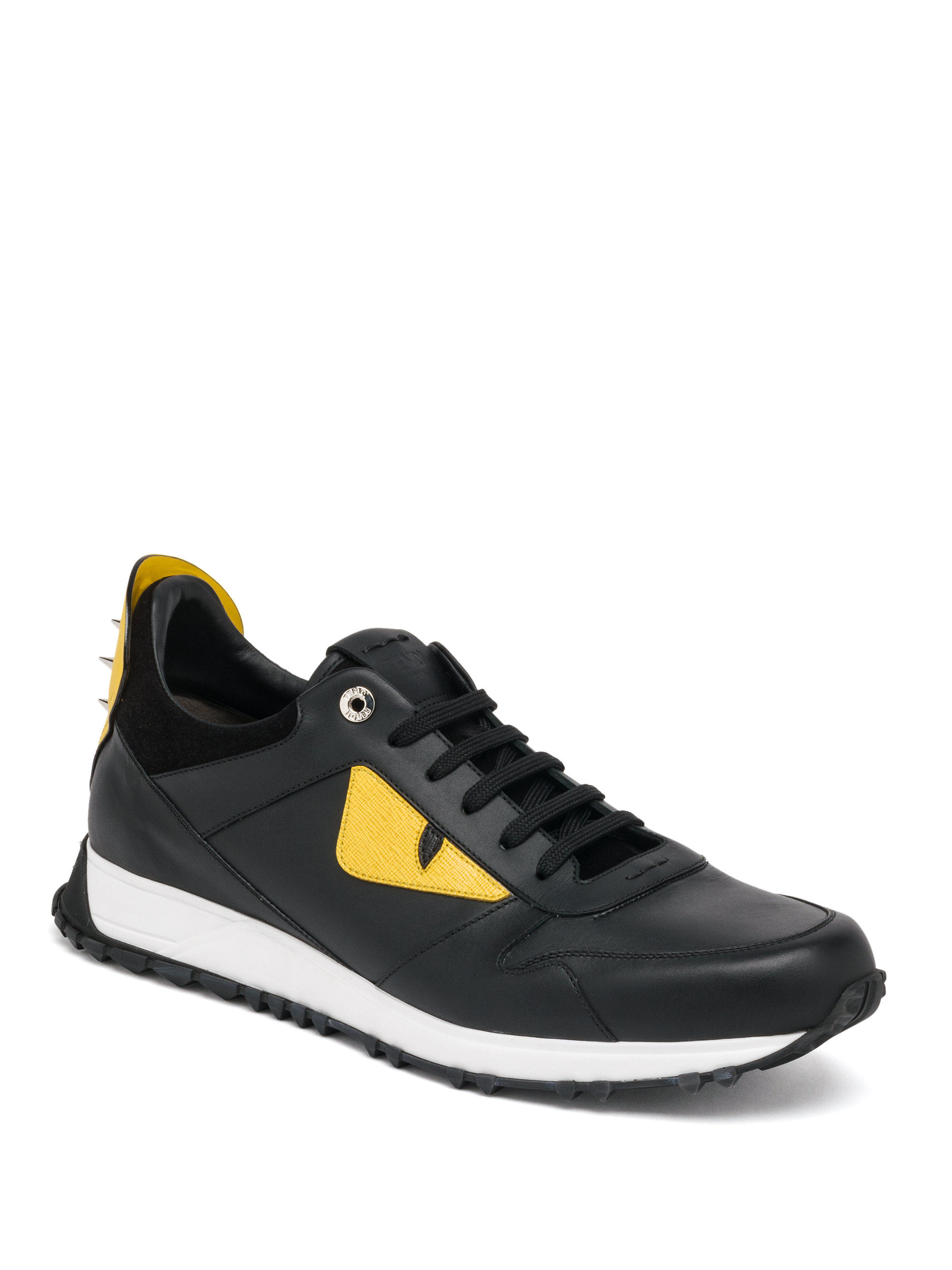 fendi bugs leather athletic sneakers in black for lyst