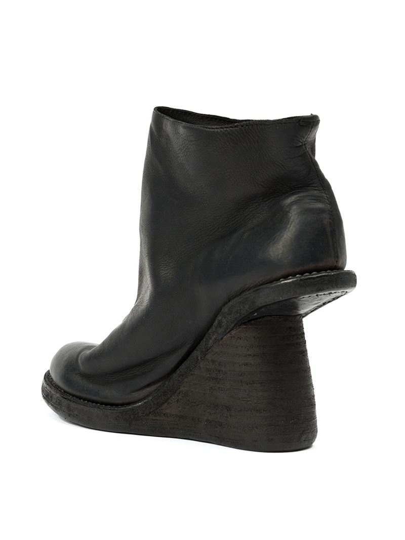 Guidi Leather Wedge Boots in Black