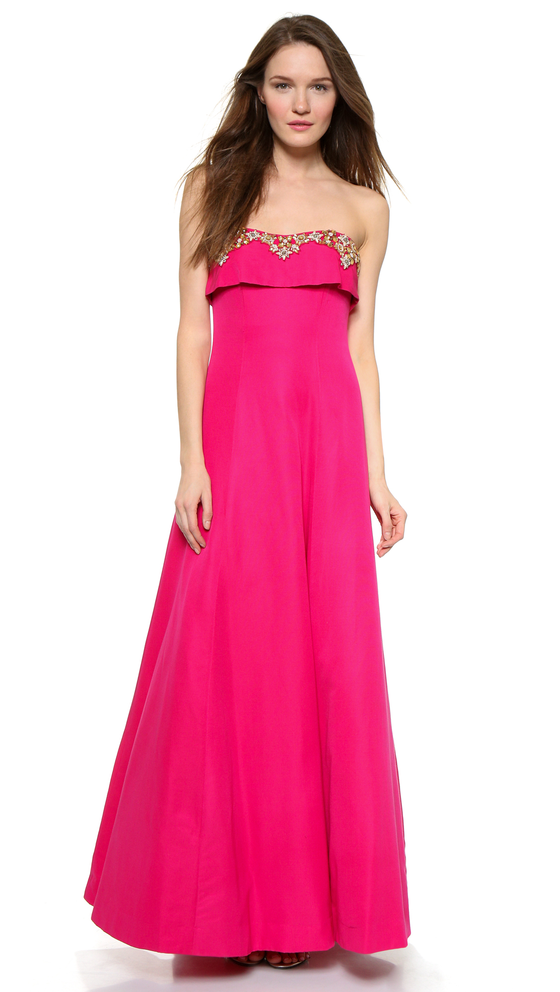 Notte by marchesa Strapless Gown - Fuchsia in Purple  Lyst