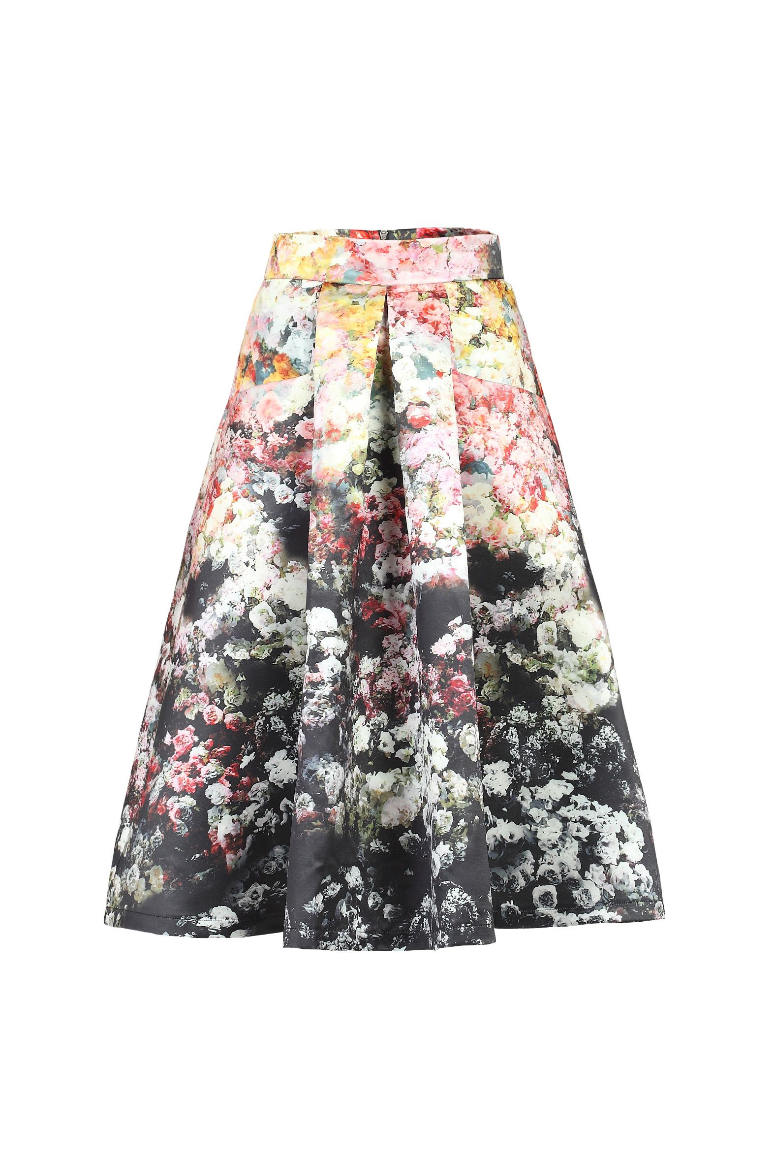 Printed A Line Midi Skirt - Dress Ala
