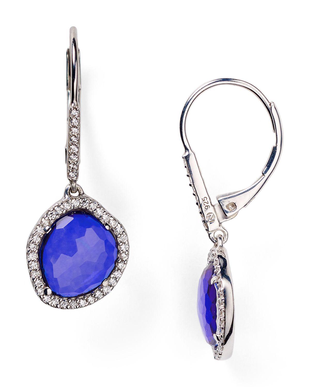 nadri sterling silver tanzanite small drop earrings