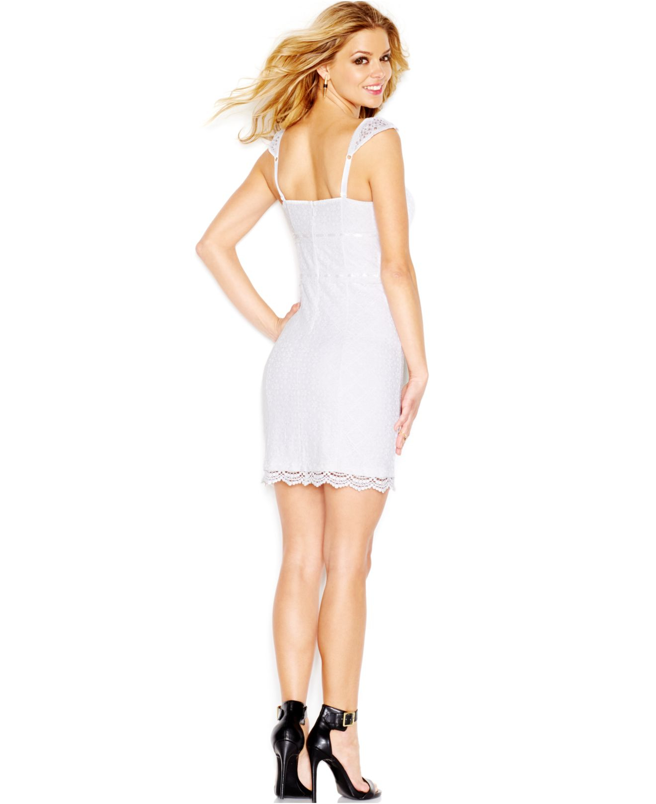 Lyst - Guess Lace Corset Dress in White