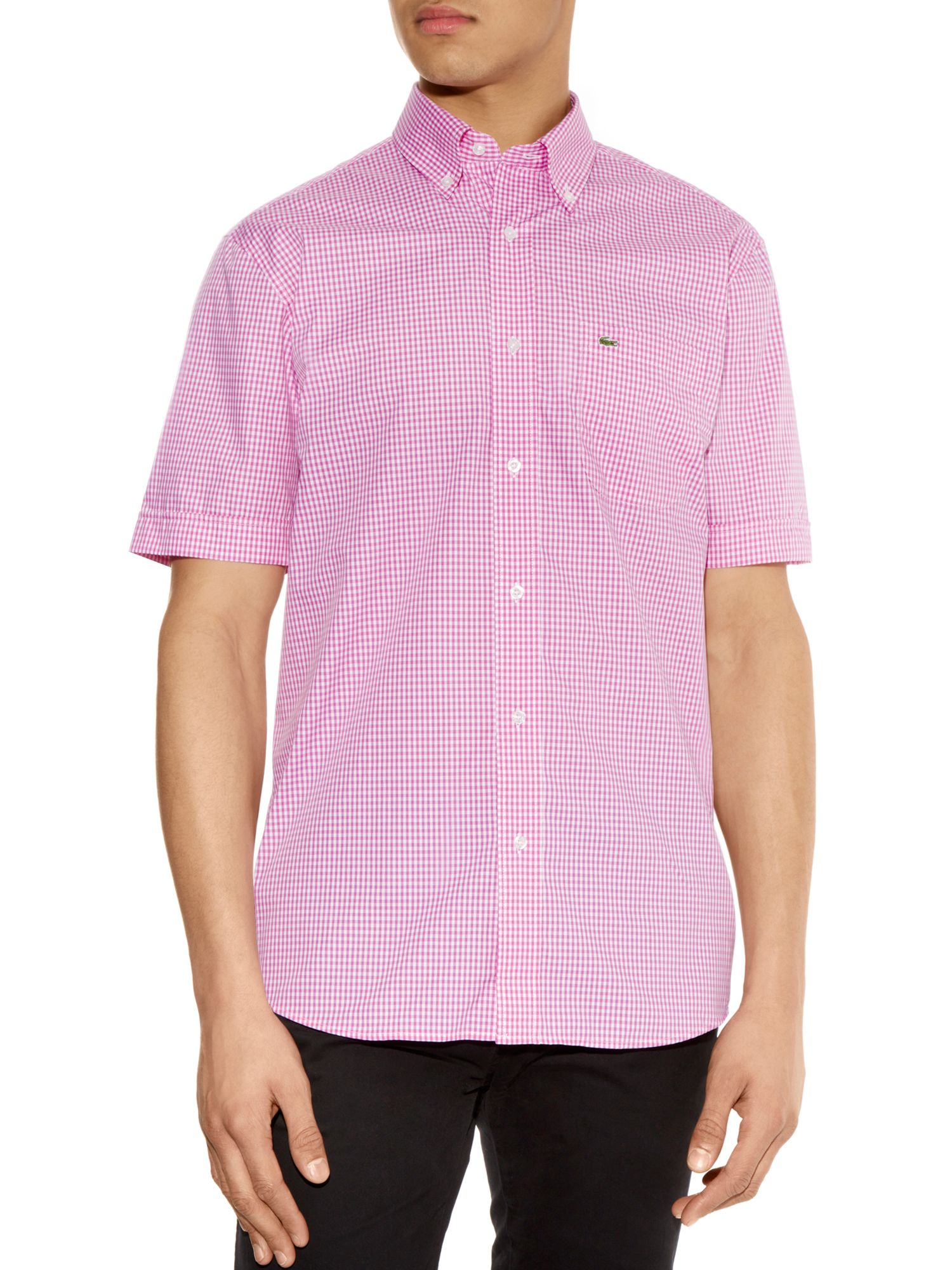 Lacoste gingham short sleeved shirt in purple for men for Men s purple gingham shirt