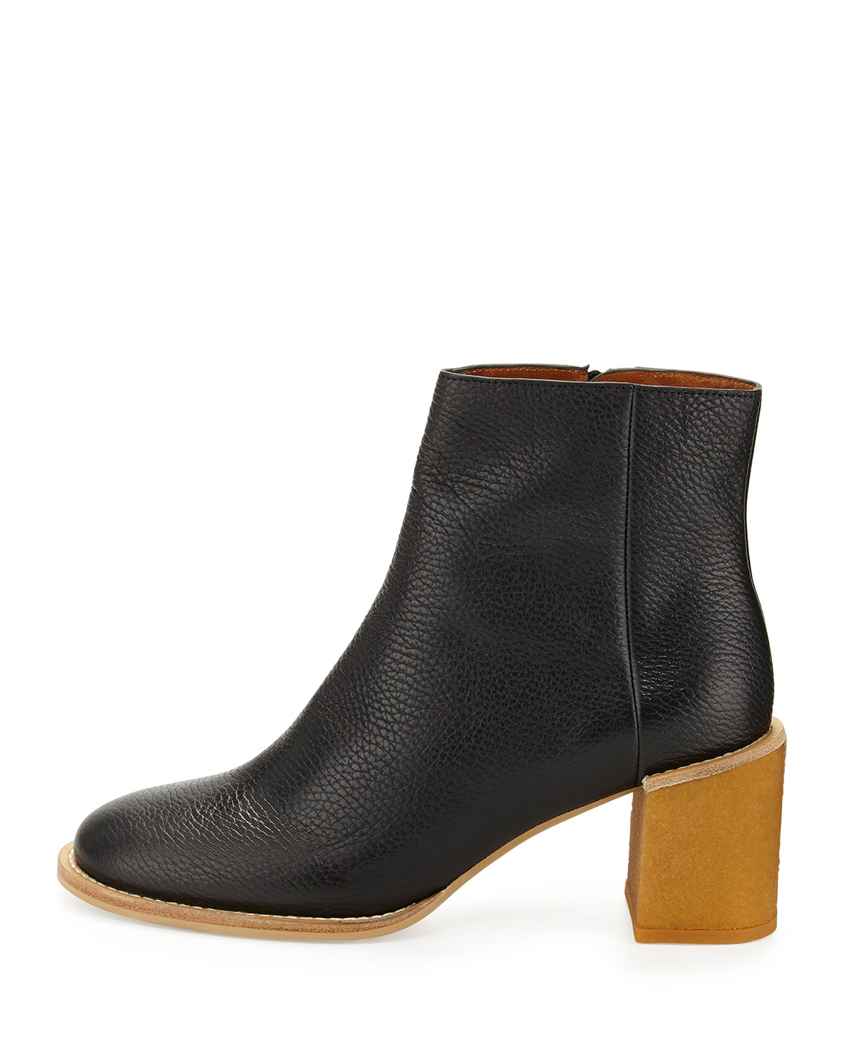 lyst see by chlo keira leather ankle boot in black. Black Bedroom Furniture Sets. Home Design Ideas