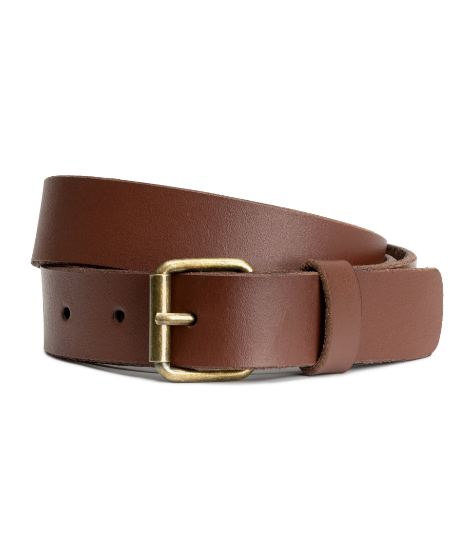 h m leather belt in brown lyst