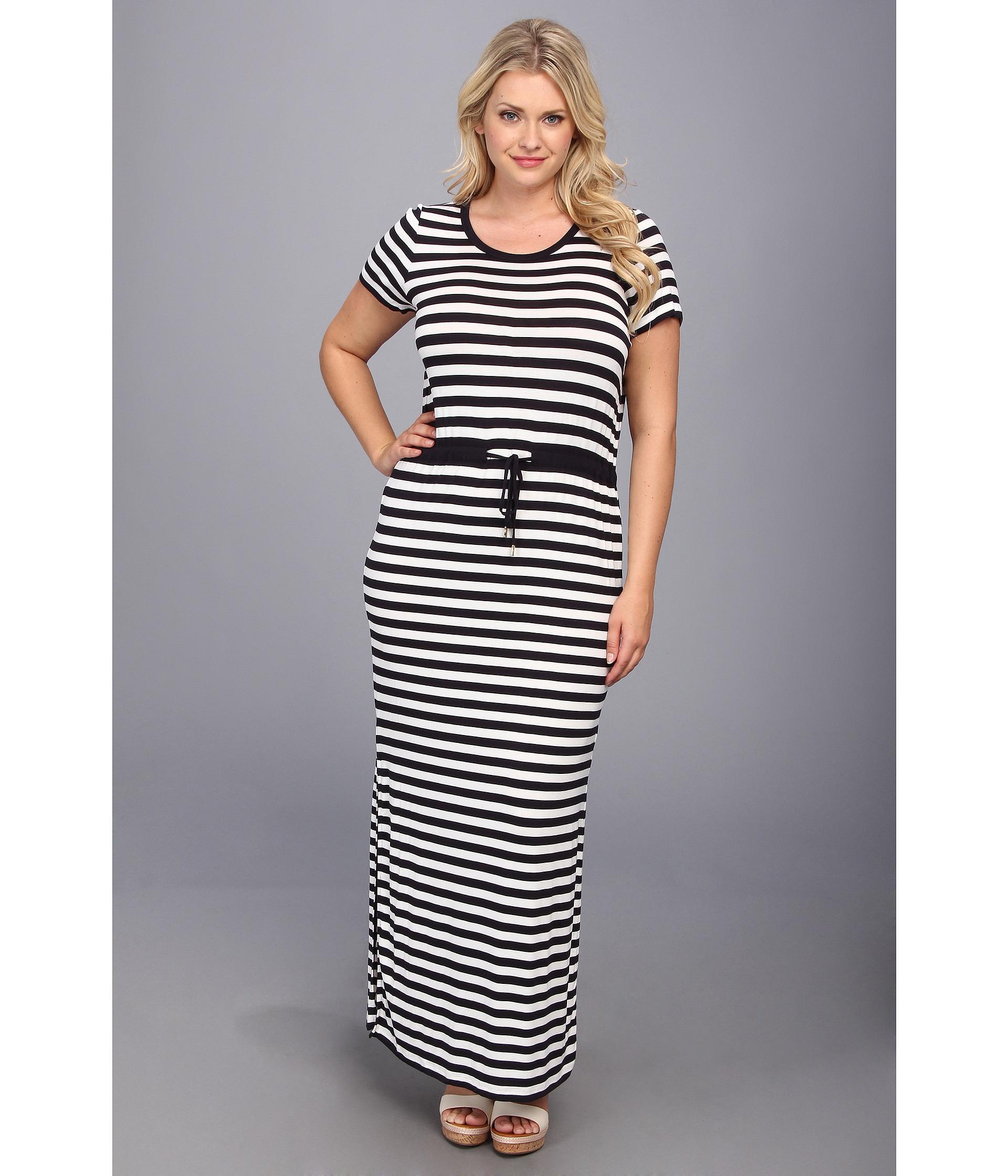 Plus Size Ss Striped Maxi Dress