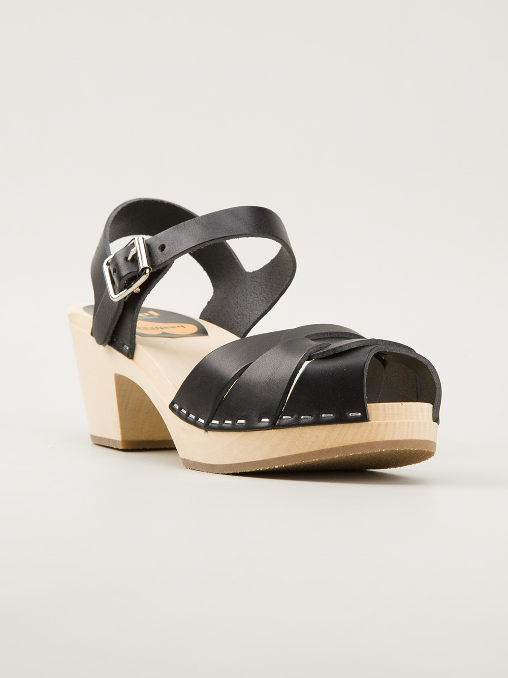 Swedish Hasbeens Black Wooden Sole Sandals