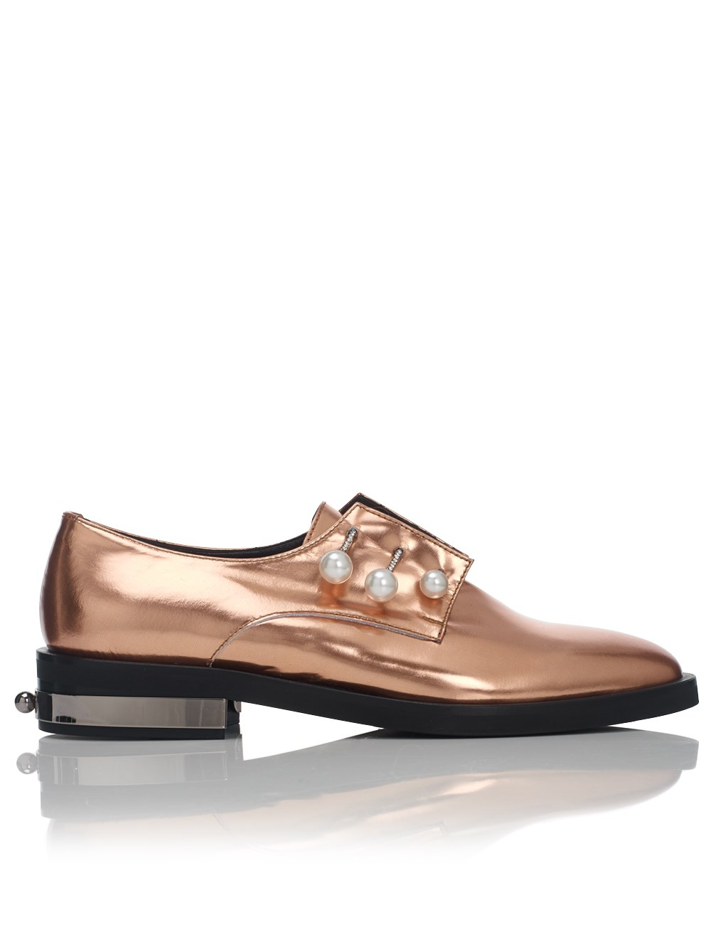 Coliac Copper Leather Derby Fernanda Shoes in Metallic