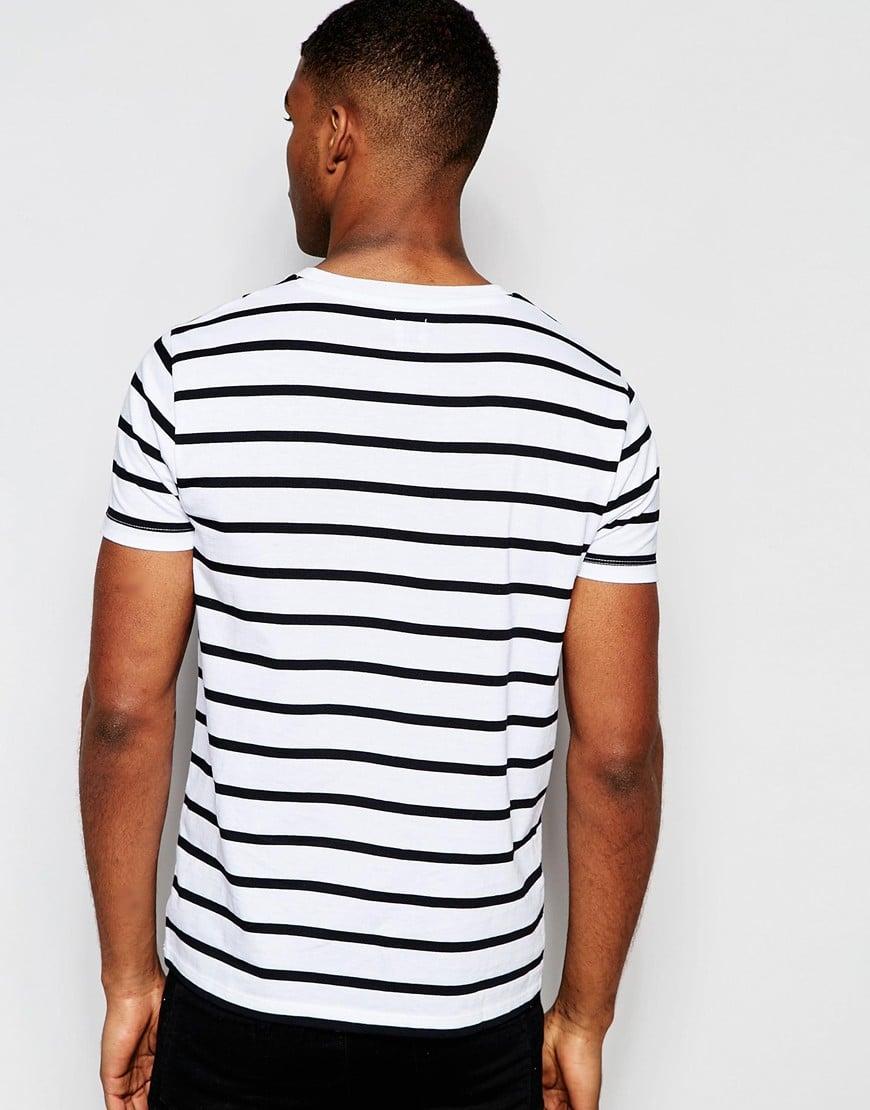 Lyst Asos Logo Stripe T Shirt In White And Black In