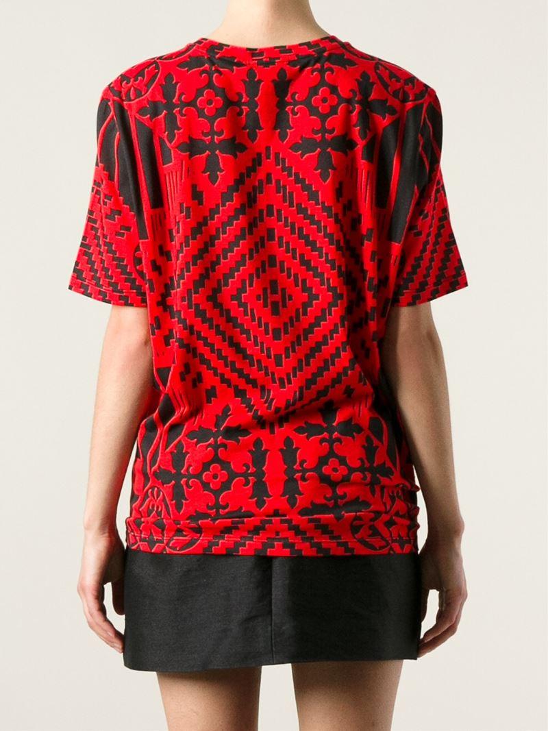 Alexander mcqueen Geometric Skull Print T-shirt in Red | Lyst